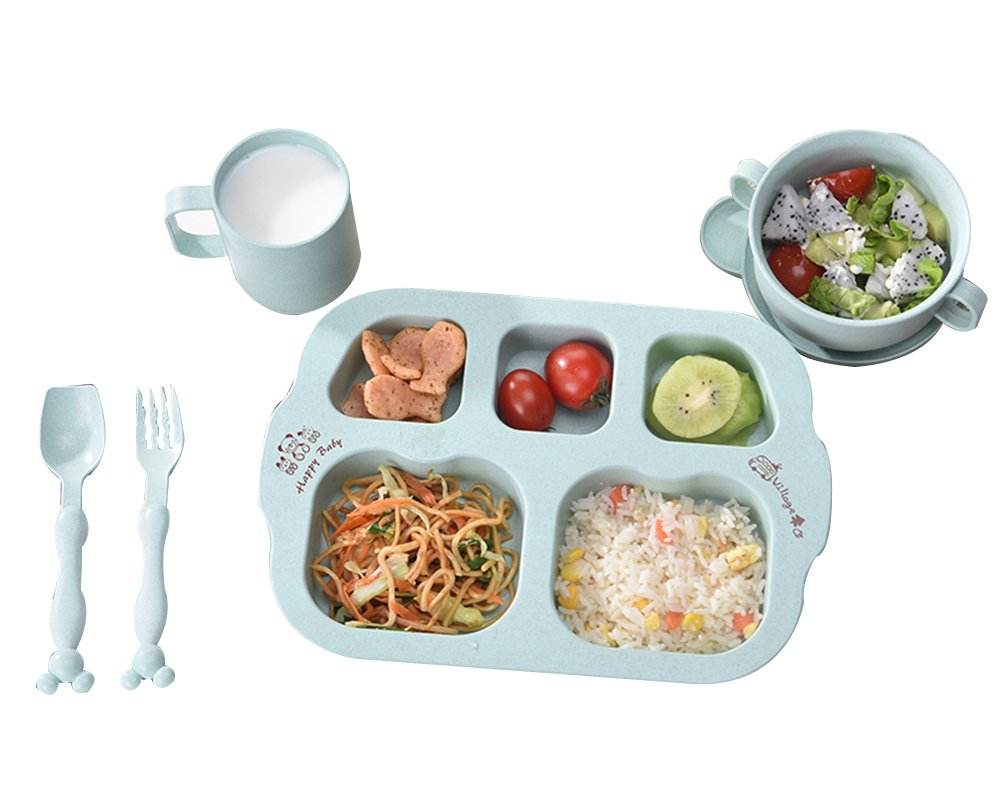 LLZJ Babies Tableware Dishes Sets Bowls Cup Bamboo Fiber Tray Spoon Fork Tip Children's Cutlery Separate Training Toddler Feeding Self-Feeding,C