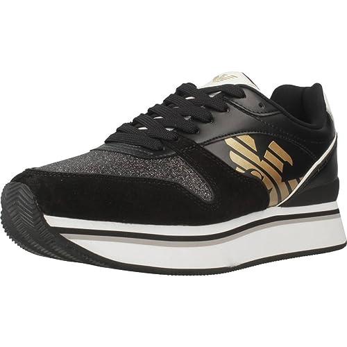 check out 9a413 4cac8 Emporio Armani Sneaker in Pelle Nera Corridore Sportivo