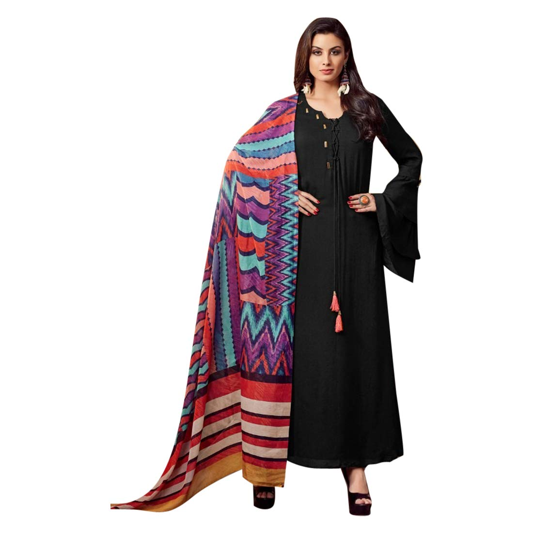 Black Indian Designer Silk Kurti with Printed Dupatta for Women Formal Kurta Festive wear 7519