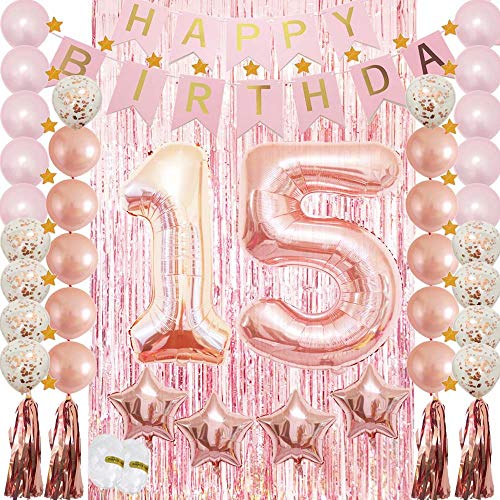 15th Birthday Decorations|15th Birthday Party Supplies Rose Gold-Confetti Latex Balloon,Tassel Garland,Tinsel Foil Fringe Curtains,Happy Birthday Banner as Gift, Favors,Photo Booth Props for Her Girl