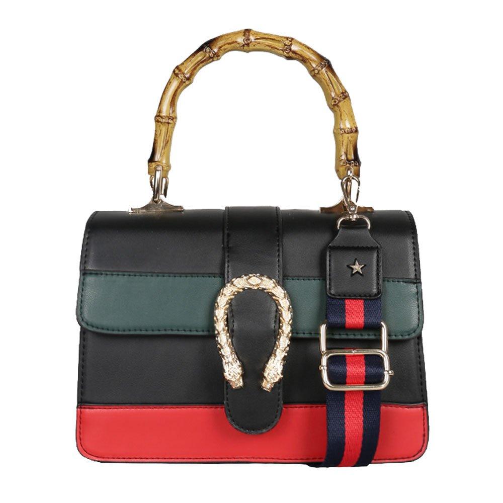 Women messenger Bag Women Handbag Shoulder bag cross body bag Tote Bags with Bamboo handle 2017 NEW (black2)