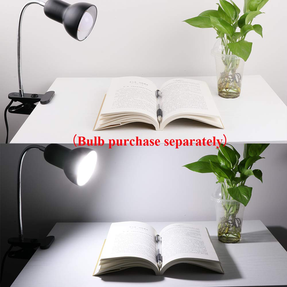 Black Desk lamp,360/° Rotation Clip on Lamp Portable Book Reading Light,Clamp on Desk//Table//Bunk Bed//Cupboard Home Lighting