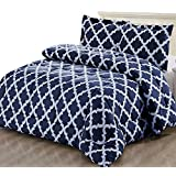 Utopia Bedding Printed Comforter Set (Queen, Navy) with 2 Pillow Shams - Luxurious Soft Brushed Microfiber - Goose Down Alternative Comforter