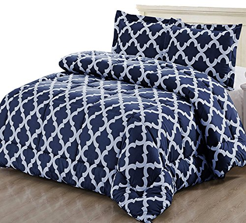 Utopia Bedding Printed Comforter Set (Queen, Navy) along with 2 Pillow Shams - Luxurious gentle brushed Microfiber - Goose off option Comforter