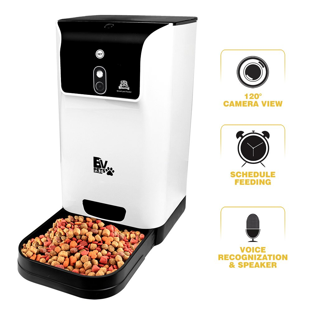 BV Pet Automatic Smart Feeder with Camera for Cats & Dogs - Feed, Watch, and Interact with your Pet Remotely via Smartphone