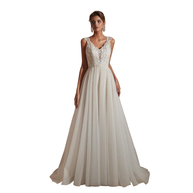 Amazon Com Leyidress Beach Wedding Dresses Lace A Line V