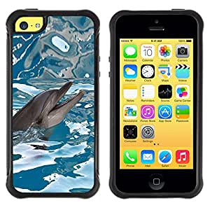 Jordan Colourful Shop@ Happy Dolphin Water Sea Blue Reflection Rugged hybrid Protection Impact Case Cover For iphone 5C CASE Cover ,iphone 5C case,iphone5C cover ,Cases for iphone 5C