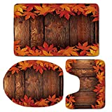 3 Piece Bath Mat Rug Set,Fall,Bathroom Non-Slip Floor Mat,Dry-Leaves-Poured-Onto-Wooden-Board-Cabin-Cottage-Rustic-Country-Life-Theme-Print-Decorative,Pedestal Rug + Lid Toilet Cover + Bath Mat,Brown-