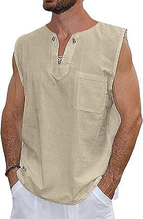 NBT Camiseta para Hombre Camiseta de Lino y algodón Camisas Hippies con Cuello en V Yoga Top: Amazon.es: Ropa y accesorios