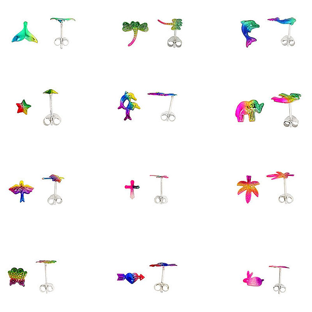 Bird Pot Leaf Cross 2 prs. Dragonfly Lot of 12 Pairs Star Dolphin Elephant Heart /& Rabbit Stud Earrings Butterfly Sterling Silver Multi Color Whale Tail