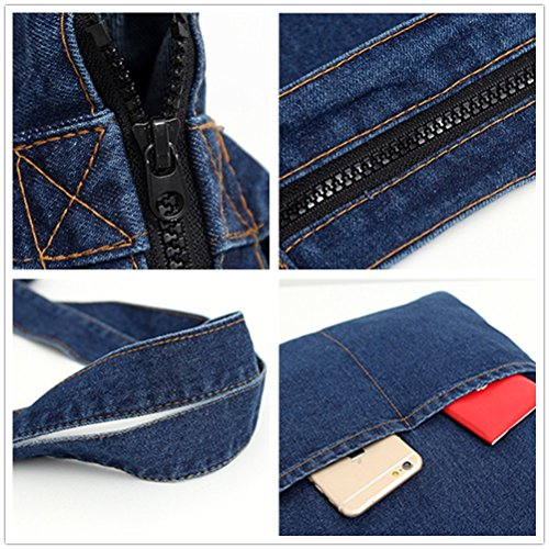 Yiuswoy Denim Taschen Damen Freizeit Strandtasche Mit Reißverschluss Handtaschen Junge Mädchen Umhängetasche Für Schule - Dunkle Blau 2 Taschen