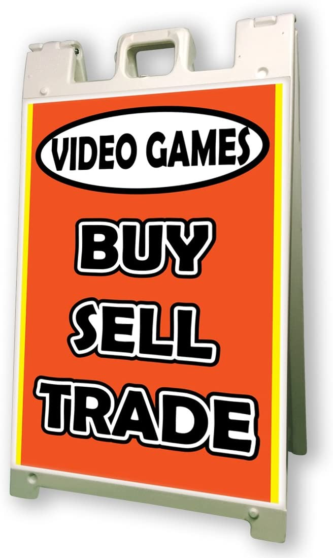 Video Games Buy Sell Trade Sidewalk A Frame 24x36 Outdoor Game Retail Sign