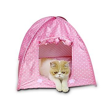 hubulk Pet Supplies Durevole lavable Carino Dots Style Pet Plegable Casa Cortina para I de perros