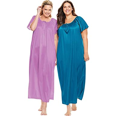7fa94bb81dc Only Necessities Women s Plus Size 2-Pack Long Nightgown Set - Light Orchid  River Blue