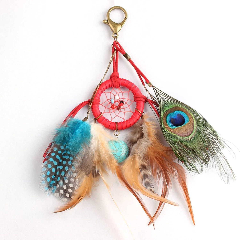 Jocestyle Womens Girls Dream Catcher Artificial Feather Fancy Key Chain Ring Lovely Keychain Keyrings Handbag Bag Purse Car Accessory Pandent