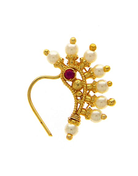 33db1ba77d5a3 Anuradha Art Golden Finish Studded Sparkling Stone Designer Nath/Nose Ring  for Women/Girls(Non-Press Nath)