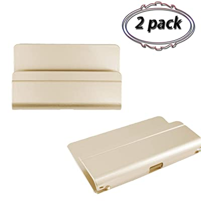 2 Pack Wall Mount Phone Holder Damage-Free Station Adhesive Universal Hanging Shelves Charging Cable Outlet Hole Data Cable Receiving Hole Included∣Perfect for iPhone Smartphone Mini Table (Gold)