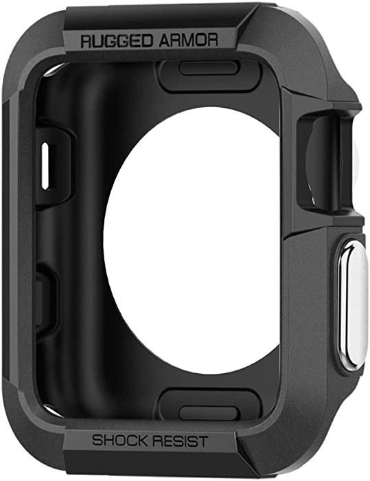 Spigen Rugged Armor Designed for Apple Watch Case for 38mm Series 3/Series 2/1/Original (2015) - Black