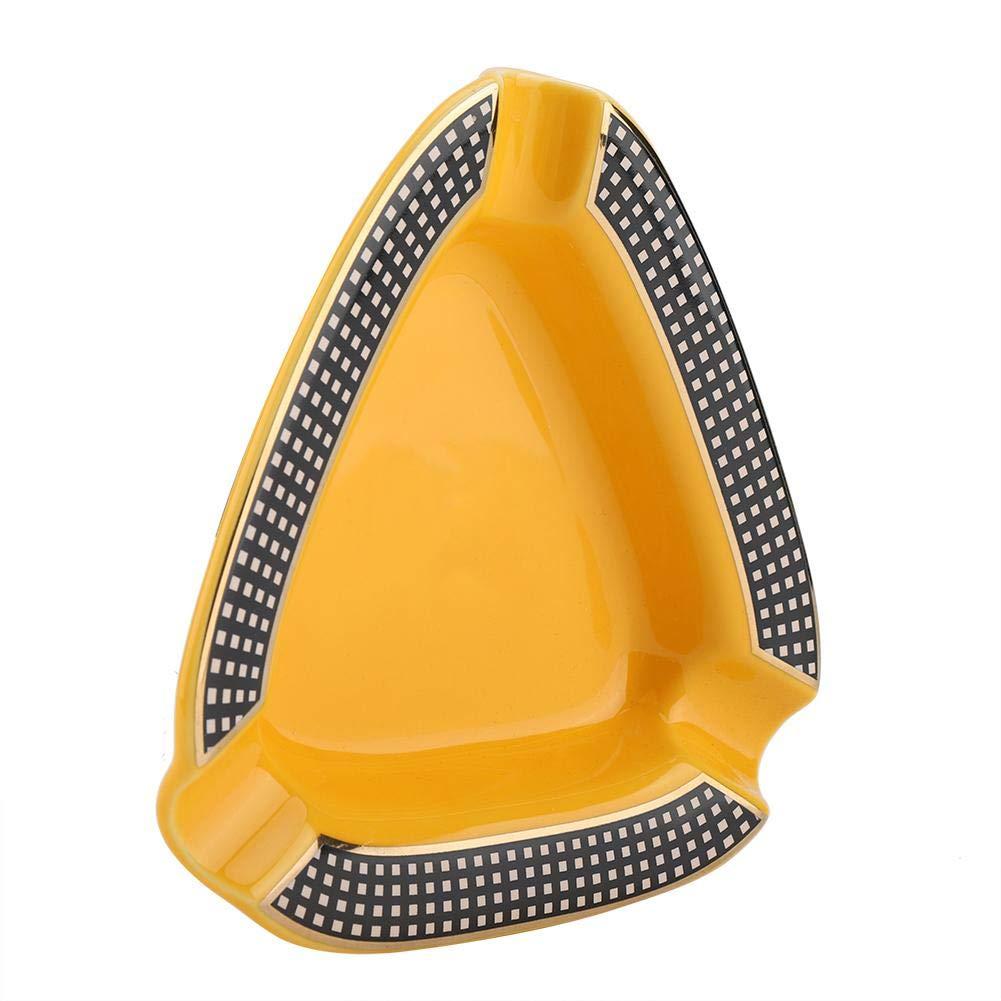 Duokon Cenicero para Cigarrillos Port/átil Mini Cer/ámica Forma de tri/ángulo Cigarrillo Cenicero Titular de Ceniza Blanco Naranja Blanco