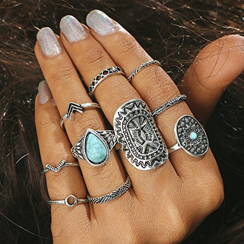 Setita 10 Pieces Stylish Turquoise Joint Knuckle Nail Midi Ring Set Boho Ring Set, Ancient Silver]()