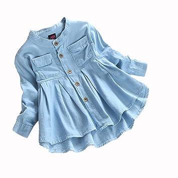 c09db9393 FEITENGTD Toddler Baby Girl Ruffle Denim T-Shirt Long Sleeve Outfit Clothes