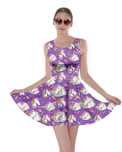 CowCow Womens Fun Outfit Unicorn Fancy Party Castle Princess Party Skater  Dress, XS-5XL