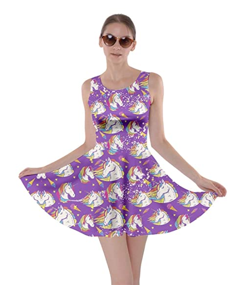 CowCow Womens Fun Outfit Unicorn Fancy Party Castle Princess Party Skater  Dress, XS-5XL