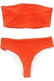 b70d1f481e6 Amazon.com: XUNYU Women Bikini Set Bandeau Strapless Swimsuits Two ...
