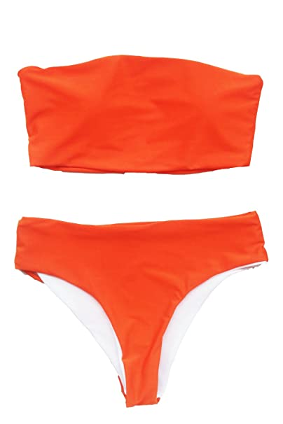 02a2a8a4fc0 Amazon.com: Uniarmoire Womens Two Piece Bandeau Bikini Top Swimsuits Solid  Color: Clothing