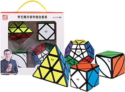 QIYI 4 in 1 Combo Set-3 Pyraminx, Megaminx, Skewb & Ivy Black Background Cubes 3D Brain Teaser Puzzle Recommended for 3 -99 yrs (Combo of 2)