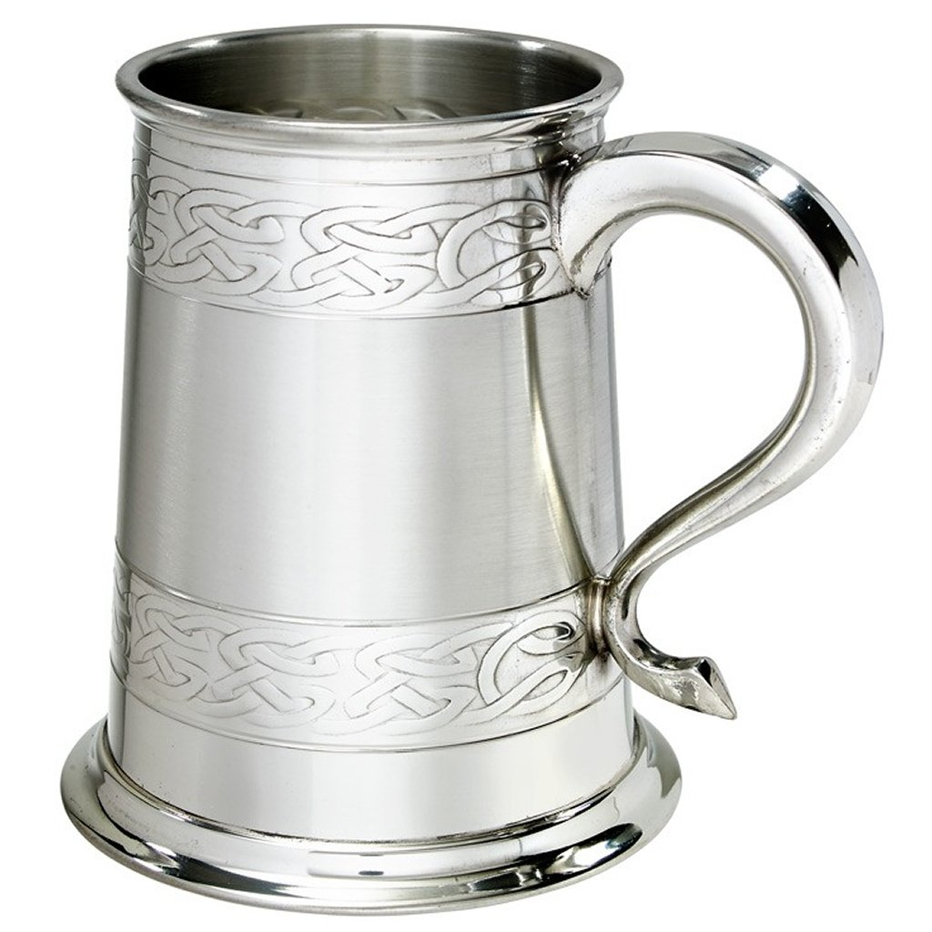 Embossed Celtic Bands 1pt Fine English Pewter Tankard Wentworth