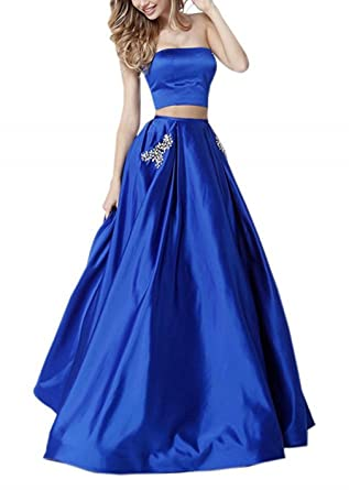 Dearta Womens A-Line Two Pieces Strapless Satin Prom Dresses Style B Royal ...