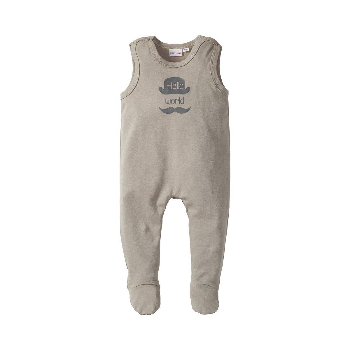 /& Schrittbereich Einteiler f/ür Babys aus Reiner Baumwolle mit Druckkn/öpfen in Schulter Bornino Basics Strampler hellgrau