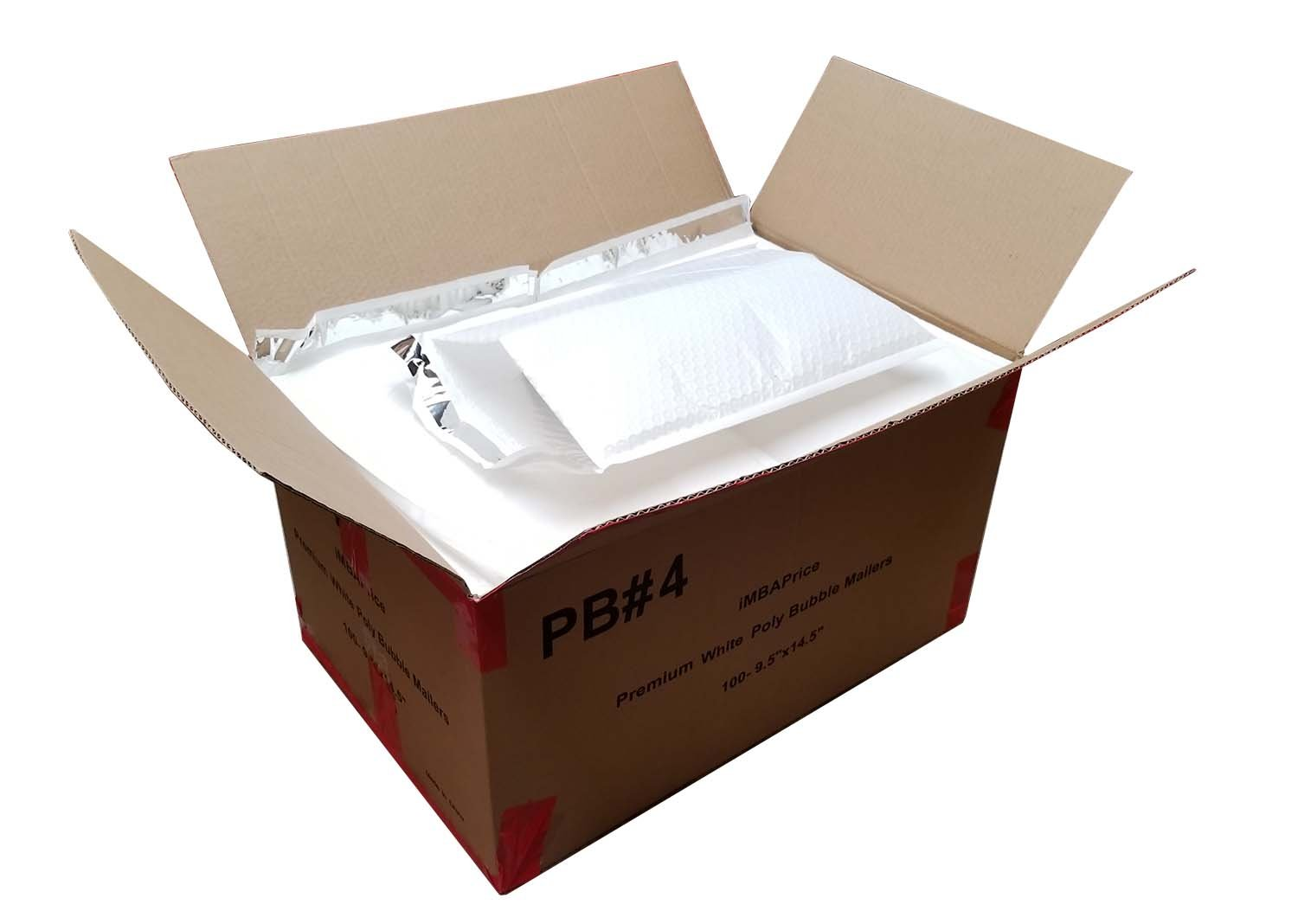 iMBAPrice 100#4 (9.5'' x 14.5'') Pure White Color SELF Seal Poly Bubble MAILERS Padded Shipping ENVELOPES (Total 100 Bags)
