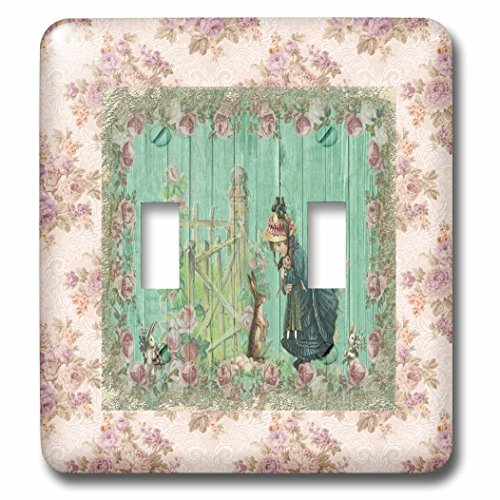 3dRose Beverly Turner Easter Design and Photography - Vintage Bunnies Meeting Little Girl Holding Doll, Rose Frame - Light Switch Covers - double toggle switch (lsp_276177_2) by 3dRose