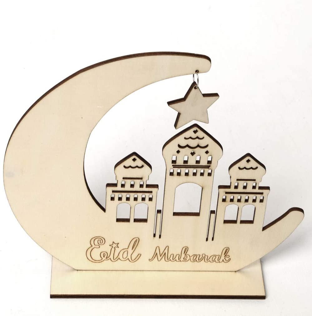 Zripool Wood Eid Rustic Crescent Moon Mubarak Muslim Wooden Ornament Gifts Moon Star Building Architecture Desk Ornaments