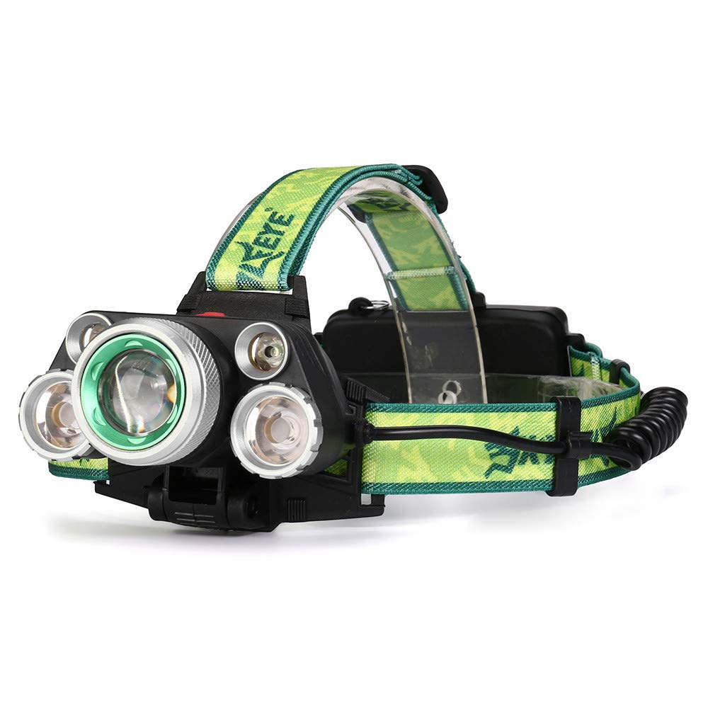 Jinjin 35000 LM 5X XM-L T6 LED Rechargeable Headlamp Headlight Travel Head Torch for Hard Hats, Camping, Fishing, Biking (Silver) by Jinjin