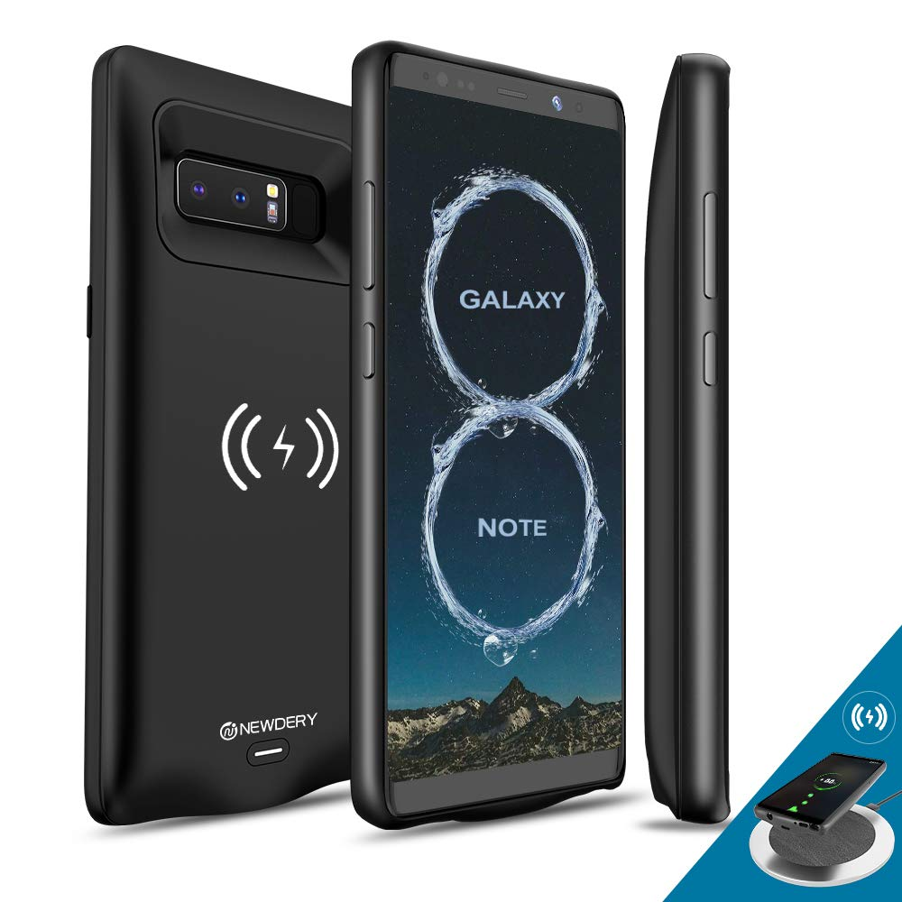[Upgraded] Galaxy Note 8 Battery Case Qi Wireless Charging Compatible, Newdery 5500mAh Slim Extended Rechargeable External Charging Case Compatible Galaxy Note 8 (6.3'' Black)