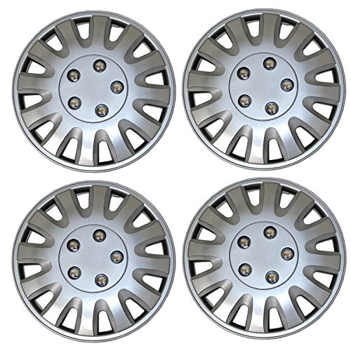 TuningPros WSC3-738S15 4pcs Set Snap-On Type (Pop-On) 15-Inches Metallic Silver Hubcaps Wheel Cover