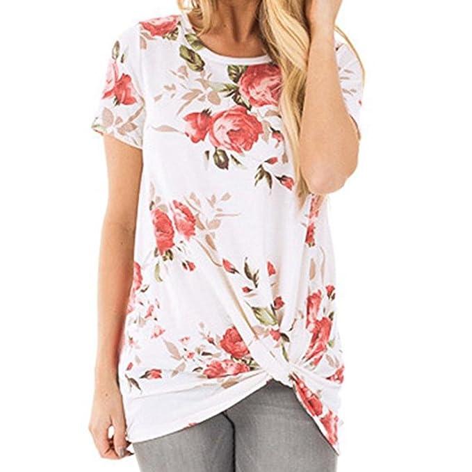 ASHOP Camisetas Muje, Camisetas Manga Corta Mujer Tallas Grandes EN Oferta Suelto Tops Blusas de Mujer Elegantes de Fiesta Baratas Nudo de Impresión Floral ...