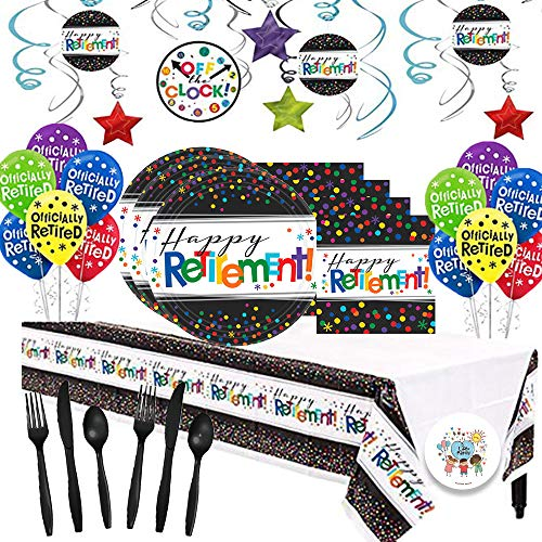 Another Dream Retirement Themed Party Pack for 16 with Plates, Napkins, Cutlery, Tablecover, and Decorations (Hanging Foil Swirls, Balloons)! for $<!--$33.99-->