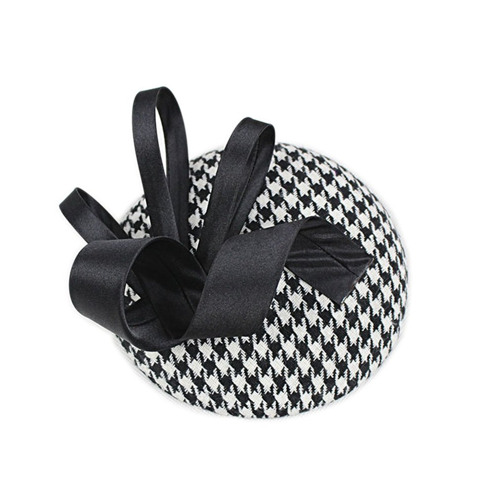 46316f3738ce3 YSJOY Vintage Style Black White Houndstooth Grid Sinamay Feather Derby Hat