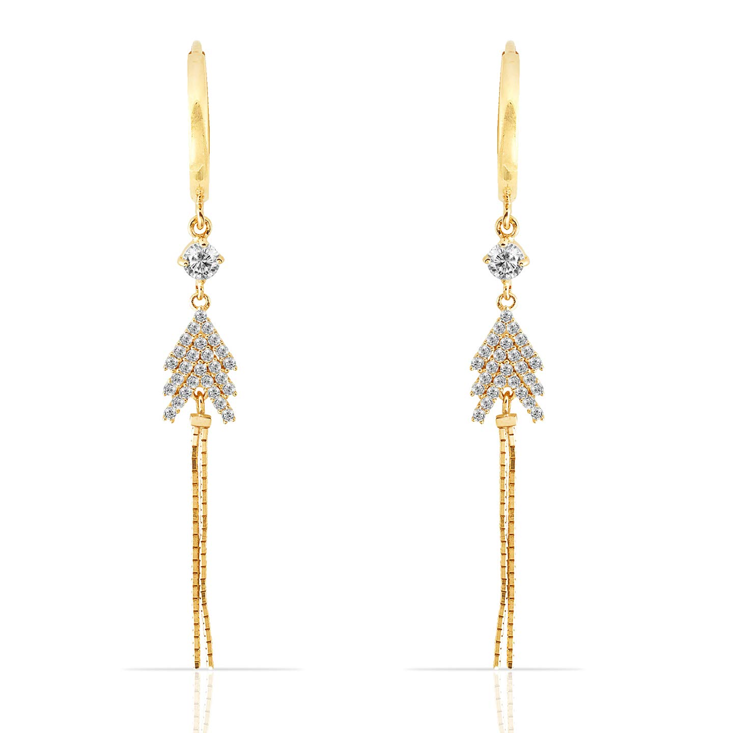 14K Yellow Gold CZ Stud and Tree Small Hoop Dangling Earrings