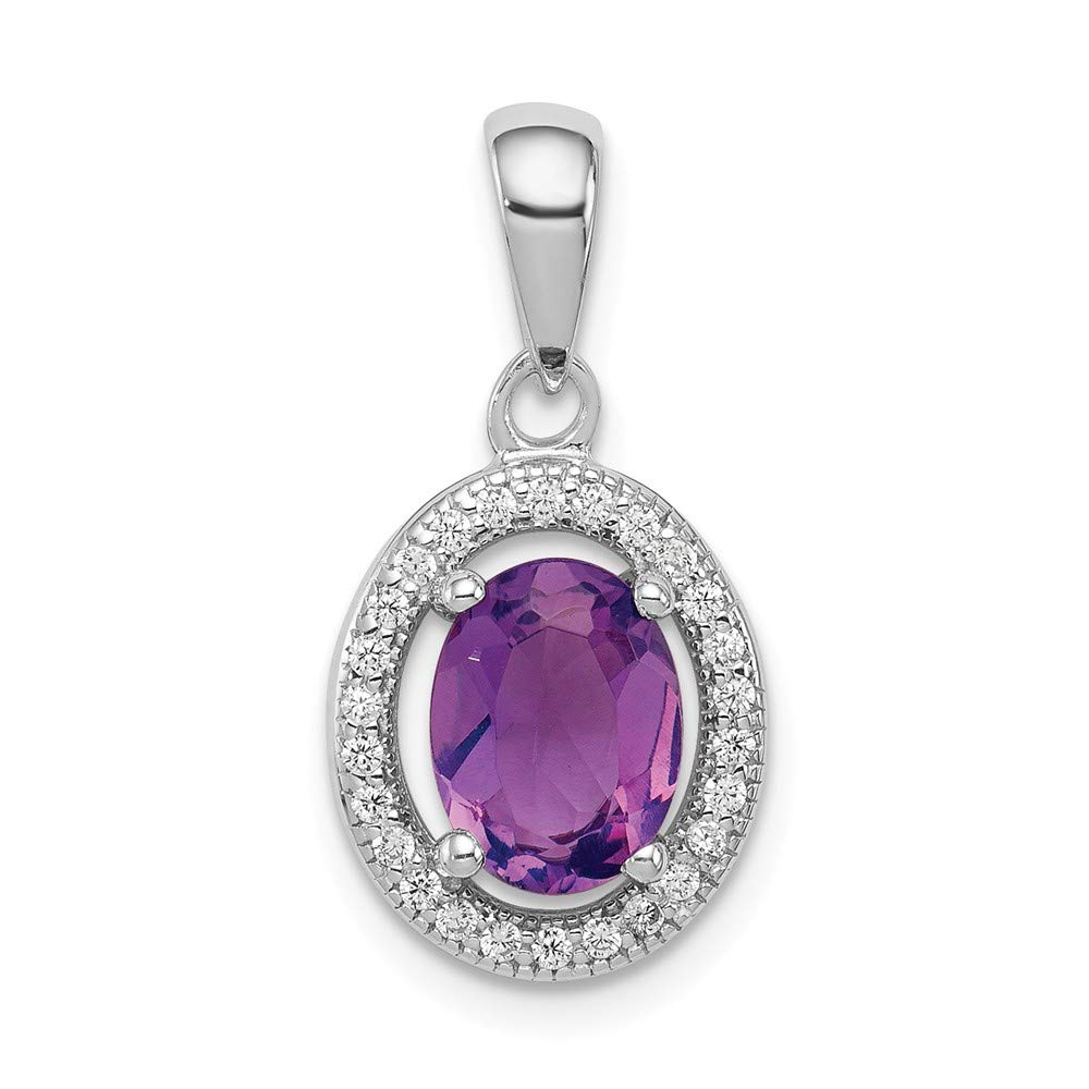 925 Sterling Silver Polished Simulated Amethyst and Cubic Zirconia Pendant