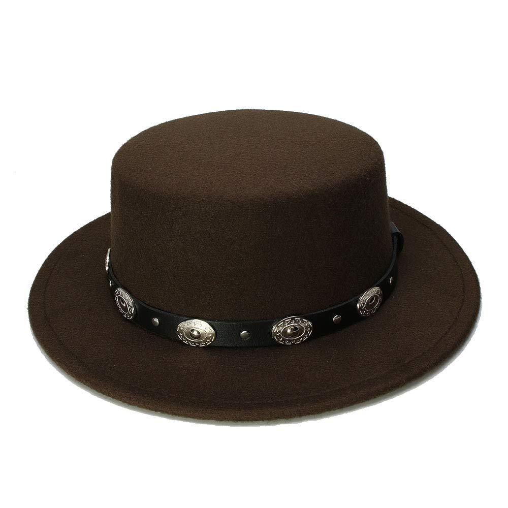 54cm//Adjusted HYF Kid Vintage 100/% Wool Wide Brim Cap Pork Pie Porkpie Bowler Hat Braid Leather Band