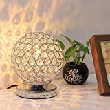Crystal Ball Table Lamp – HAITRAL Vintage Modern Night Light Lamp, Nightstand Decorative Room Desk Lamp for Bedroom, Living Room, Kitchen, Dining Room Silver (HT_BD012S) Review