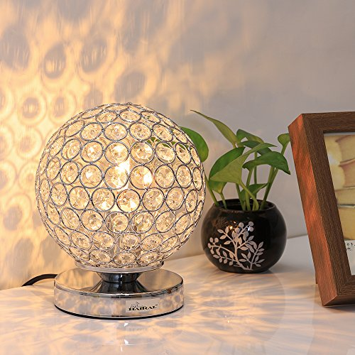 Crystal Ball Table Lamp - HAITRAL Vintage Modern Night Light Lamp, Nightstand Decorative Room Desk Lamp for Bedroom, Living Room, Kitchen, Dining Room Silver (HT_BD012S) Crystal Spheres Table Lamp