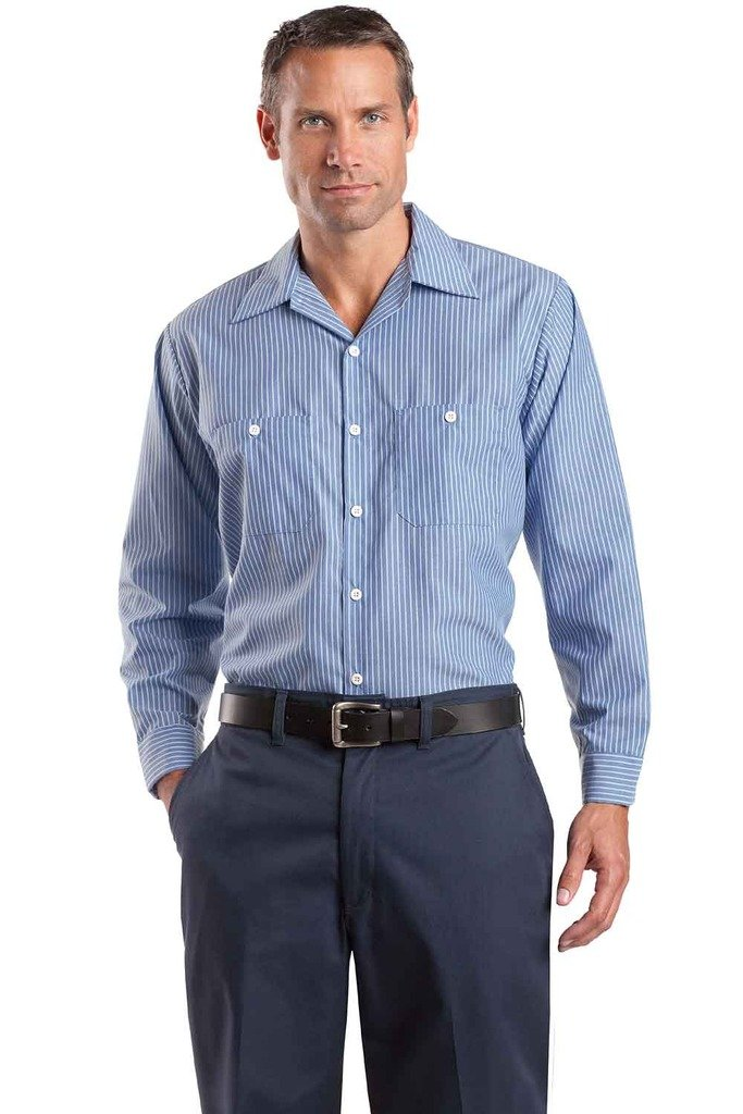 ビッグメンズ長袖ストライプIndustrial Workシャツby Red Kap B005JQ4PU6 5L|ブルー/ホワイト ブルー/ホワイト 5L