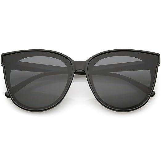 7b46779d017 sunglassLA - Oversize Cat Eye Sunglasses Neutral Color Flat Lens 60mm  (Black Smoke)