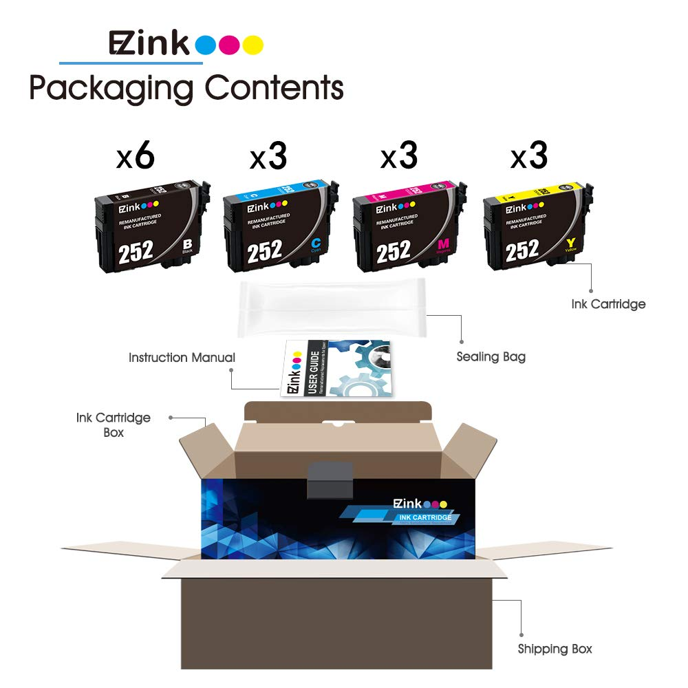 E-Z Ink (TM) Remanufactured Ink Cartridge Replacement for Epson 252 T252 T252120 to use with Workforce WF-3640 WF-3630 WF-3620 WF-7610 WF-7620 WF-7110 (6 Black, 3 Cyan, 3 Magenta, 3 Yellow, 15 Pack) by E-Z Ink (Image #3)